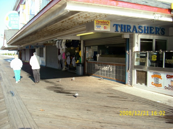 Another Ocean City, Maryland, boardwalk landmark, Thrashers French Fries, is open for business
