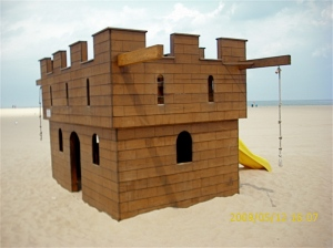 Every kid should have a fort, like this one on the beach at North Division Street.