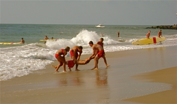 The Ocean City Beach Control conducts lifesaving drills on the beach in Ocean City, Maryland, early Thursday morning.