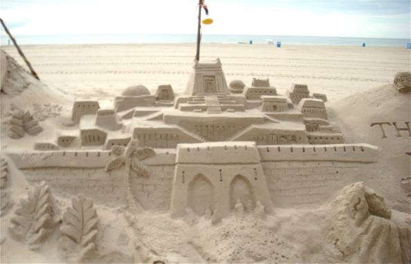 Sand sculptures can be seen on the beach at 2nd Street throughout the summer season.