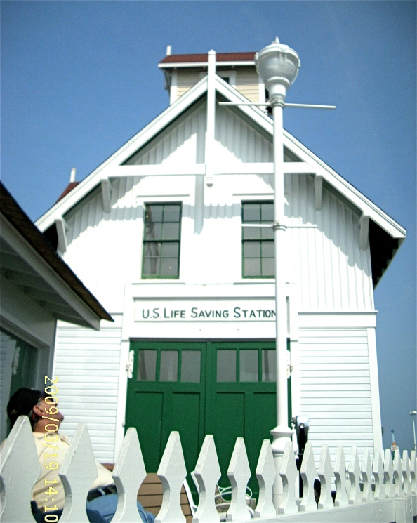 The historic Life-Saving Station, renovated last winter, in a view from the inlet at Ocean City.