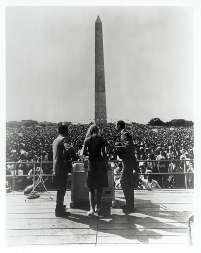 Peter, Paul and Mary, singing for justice on the steps of the Lincoln Memorial in Washington.