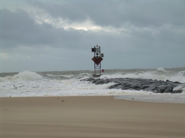 Heavy surf pounds the Inlet jetty at the south end of Ocean City, Saturday morning. Photo by Karen Harris.