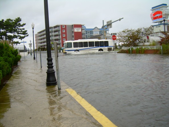 Hurray for public transportation! A little bit of water on the road? No problem if you're driving a bus. You can ride the bus all day in Ocean City for $2, rain or shine.