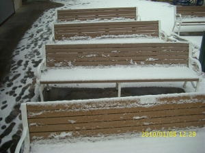 Rows of snowy benches at Wicomico Street and the Boardwalk. In summer