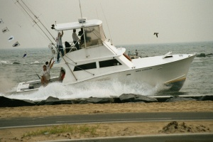A marlin boat returns to the Ocean City Inlet after a day of deep-sea fishing. Photo courtesy OC Dept. of Tourism.